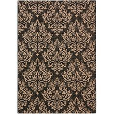 Courtyard Black and Crème Rectangle: 2 Ft. 7 In. x 5 Ft. In. Area Rug - (In Rectangular)