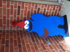 Cookie Monster door greeter for Sesame Street party.