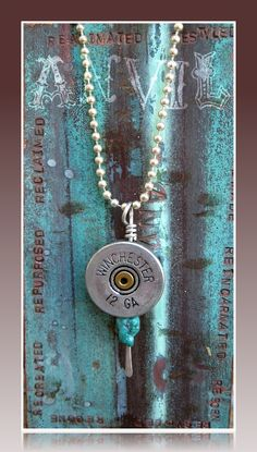 Shotgun Shell Necklace with Turquoise 12 Gauge Winchester Blues Gun Powder and Lead