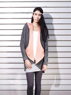 Streetwear,  Panda Cardigan by eisbörg, dark grey / anthrazit and orange