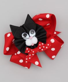 Red & Black Cat Bow Clip