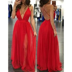 Sexy Deep V Neck Long Red Chiffon Prom Dress Party Dress with Side Slit $135.00