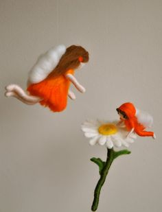 Waldorf inspired needle felted girl mobile: Daisy  fairy and her baby on Etsy, $78.00