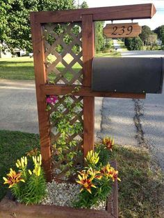10. Decorate your mail box with a small trellis garden.