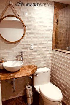Bathroom decor for your bathroom remodel. Discover bathroom organization, bathroom decor ideas, bathroom tile ideas, bathroom paint colors, and more. Wood Countertop Bathroom, Bathroom Sink Vanity, Wood Countertops, Small Bathroom, Bathroom Ideas, Bathroom Designs, Bathroom Organization, Wooden Bathroom Mirror, Live Edge Countertop