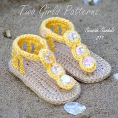Baby Crochet Pattern for Seaside Gladiator Sandals - BOTH Versions and 2 sizes included - number 211 Instant Download. $5.50, via Etsy.