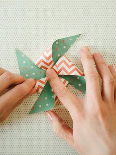 Super-Easy Pinwheels. Break out the pencils and scrapbook paper! Perfect for a rainy day.