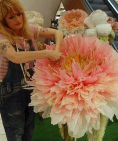Giant pink tissue paper flower by Marianne Eriksen Scott-Hansen
