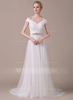 A-Line/Princess Off-the-Shoulder Court Train Tulle Wedding Dress With Ruffle Sash Beading Sequins (002058805) - JJsHouse