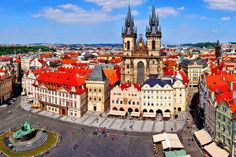 Old Town Square view, Prague. Aerial view over Old Town Square, Prague, Czech Re , River Cruises In Europe, Cruise Europe, Destinations, Prague Czech Republic, Old Town Square, Painting Edges, Stretched Canvas Prints, Long Weekend, Aerial View