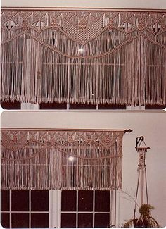 macrame valance - don't know if I'm crafty enough for this, but I think it could be part of a shabby chic look.
