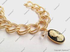 Majestic Lady Black and Gold Cameo Bracelet - Zopatioss LLC.