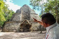 """Our Mayan archaeological guide is explaining us the meaning of the structure called """"Xaibe"""". Coba Ruins, Mayan Ruins, Swimming With Whale Sharks, Cancun Mexico, Tour Operator, Riviera Maya, Merida, Tour Guide, Tulum"""