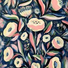 allynhoward -  Big puffy flowers, 2 bees & a bird ✨ #artworkbyallyn #floral #art  #surfacedesign #painting #surfacespatterns #acrylicart #wallart #artlicensing # #