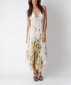 Love this Blue & Yellow Floral Semisheer Handkerchief Cover-Up by Yuka Beach on #zulily! #zulilyfinds