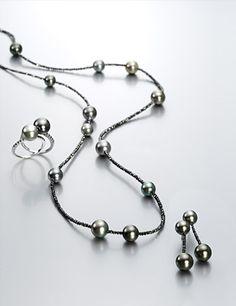 Gellner Diamond and Tahitian Pearl Set