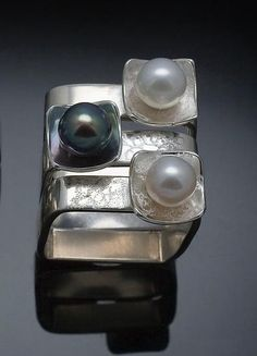 Square on Square Stacking Rings by Chi Cheng Lee: Silver and Pearl Rings available at www.artfulhome.com