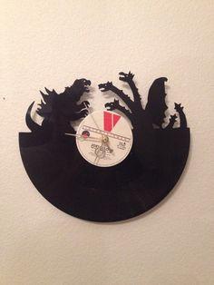 This Vinyl Record Was Upcycled into a Stylish Godzilla 2014 Movie Clock #clocks trendhunter.com