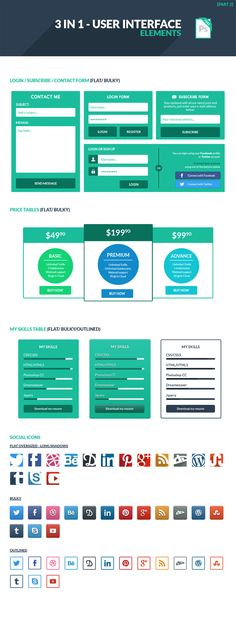 Free Download: 3 in 1 User Interface Elements Kit Part 2 #UI-element