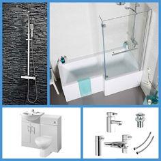 Bath Taps, Bathroom Bath, L Shaped Bathroom, Concealed Cistern, Basin Mixer, Vanity Units, Toilet, Sink, House Ideas