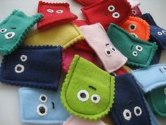 Monster finger puppets...EASY and a great use for all my left-over felt scraps!