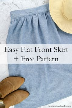 Make an easy skirt in any size with this free flat front skirt pattern. The skir… Make an easy skirt in any size with this free flat front skirt pattern. The skirt can be made for any size or age, and it's really quick to sew. Easy Sewing Projects, Sewing Projects For Beginners, Sewing Hacks, Sewing Tutorials, Sewing Crafts, Sewing Tips, Sewing Patterns Free, Free Pattern, Pattern Sewing