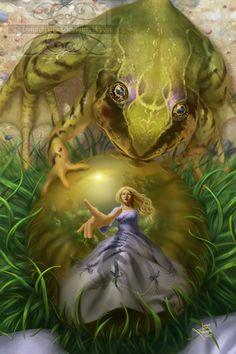 frog prince storybook illustrations | Grimm's The Frog Prince by lunarsparks