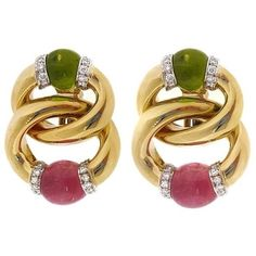 Pre-owned 18K Yellow Gold with Peridot & Pink Tourmaline & Diamond... (323.425 RUB) ❤ liked on Polyvore featuring jewelry, earrings, 18k earrings, green gold earrings, 18k gold jewelry, gold round earrings and round earrings