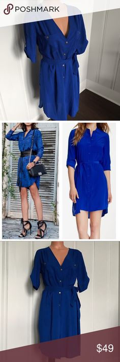 A New York Cobalt Blue Button Down Shirtdress M A New York Cobalt Blue Button Down Shirtdress M  So many ways to wear this! Good Condition, buttons show minor wear.   Brand - A New York (purchased from Saks Off 5th)  Size - Medium 100% Polyester   Approx Measurements: Bust - 42in Length - 37in Sleeve - 6in  **modeled pics are style ideas found off pinterest** A New York Dresses