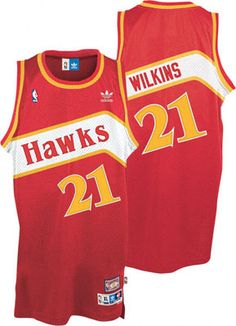 Dominique Wilkins Jersey  adidas Red Throwback Swingman  21 Atlanta Hawks  Jersey Basketball Uniforms 8217bd12034
