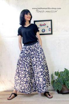 Introducing Batik Amarillis 's The Warrior pants #2 in Batik gedog -Tuban ,When you can't decide to wear pants or skirt!this comfy wide pants with around the clock skirt is smartly  designed, with pleats at the crotch