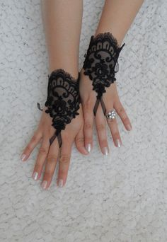 Black Wedding Glove  Black lace gloves Fingerless by WEDDINGHome, $28.00