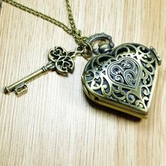 Just bought this :P Necklace Pocket Watch Necklace Tattoo, Heart Locket Necklace, Bracelet Tattoos, Key Tattoos, Rosary Tattoos, Crown Tattoos, Heart Tattoos, Flower Tattoos, Sleeve Tattoos