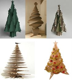 des sapins en papier / carton : their all at it brilliant Cardboard Tree, Cardboard Christmas Tree, Diy Christmas Tree, Xmas Tree, Christmas Projects, All Things Christmas, Christmas Holidays, Christmas Decorations, Christmas Ornaments