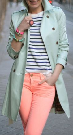 Mint trench coat, peach skinnies and striped top.