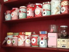 Ribbonwood Cottage-rick rack stored in altered and repurposed cans....in the sewing room