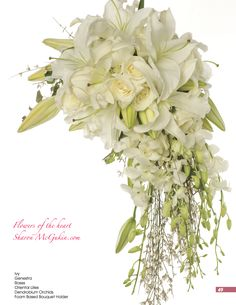 White Lilies, Roses, Orchids, & Genestra in a cascading bridal bouquet. Cascading Bridal Bouquets, Cascading Flowers, Wedding Bouquets, Wedding Flowers, White Bouquets, Flower Bouquets, Blue Wedding, Wedding Reception, White Lilies