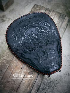 """Fire walk with me"" leather seat for a harley... #leather #leathercraft…"