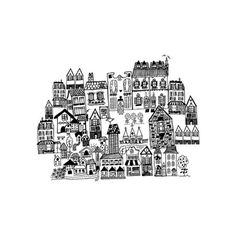 Little houses on a hillside by Phrosné Ras for Minted