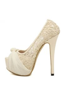 Chic Hollow Lace Pattern Peep Head Apricot Pumps with Bowtie on sale only US$19.03 now, buy cheap Chic Hollow Lace Pattern Peep Head Apricot Pumps with Bowtie at martofchina.com