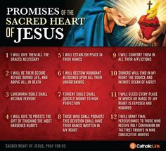 Catholic quotes, infographics, memes and more resources for the New Evangelization. Infographic: The 12 promises of the Sacred Heart of Jesus. Catholic Prayers, Catholic Quotes, Sacred Heart Devotion, Catholic Religion, True Religion, Heart Of Jesus, God Jesus, Divine Mercy, Spirituality