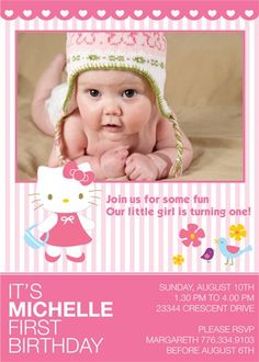Welcome to DesignDream br br This is for custom invitation as DIGITAL DESIGN br I design it - You print it br br You can have printed at any photo Hello Kitty Invitations, Instagram Frame Template, Custom Birthday Invitations, Cat Party, Pink Cat, Some Fun, Invite, Birthday Parties, Girly