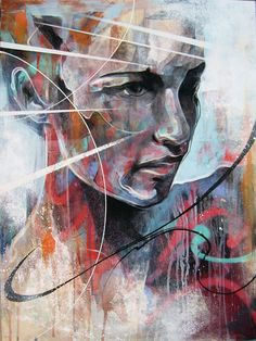 "Today we want to show you beautiful portrait paintings by UK based painter Danny O'Connor (aka DOC). ""Concentrating mainly on figurative and portrait subject matter, his influences include comic books,… Arte Yin Yang, English Artists, Arte Pop, Disney Halloween, Halloween Inspo, Painted Pumpkins, Portrait Art, Portrait Paintings, Expressionist Portraits"