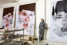 Jenny Saville in her studio. (bron: Clara Lieu ) Jenny Saville in her Oxford studio. Jenny Saville, Art And Illustration, Illustrations, Studios D'art, Inspiration Art, A Level Art, Jackson Pollock, Henri Matisse, Art Design