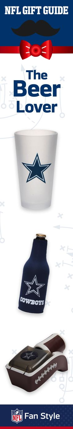 Is dad the beer connoisseur in the family? This Father's Day, he'll love gear for his next Dallas Cowboys tailgate, like a can chiller and frosted pint glass.