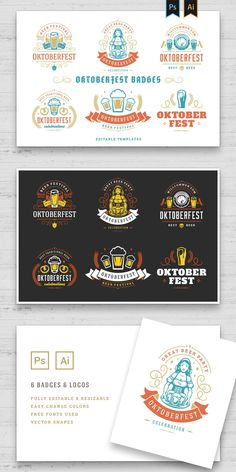 Oktoberfest logos and badges set vintage typographic design vector templates. Willkommen zum invitations beer festival celebration good for flyers and promotion banners. - Features: • PSD (Photoshop) files • AI CS2+( Illustrator) files • 100% Vector (vector shapes in PSD files) • Easy change colors • Editable and resizable • Text is editable • Links to download fonts in file - You can use this: • Logo Design • Insignia Design •...