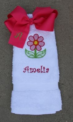 Spring Flower White Hand Towel Matching Hot Pink Bow - $25.10
