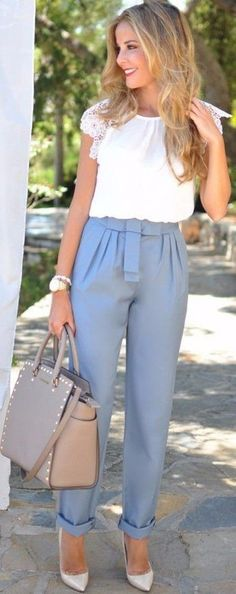 white shirt and grey trousers work chic style