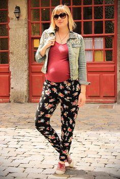 Street look fashion pregnancy street look french blogger Artlex / fashion blog / pregnancy/maternity/Look woman pregnant//pant print flowers