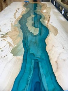 SOLD- Reclaimed Live Edge Ambrosia Maple Blue Epoxy River Coffee Table Topographic(Custom order for SOLD Reclaimed Live Edge Ambrosia Maple … Diy Resin Table, Epoxy Wood Table, Epoxy Resin Table, Diy Marble, The River, Epoxy Countertop, Countertops, Wood Table Design, Table Cafe